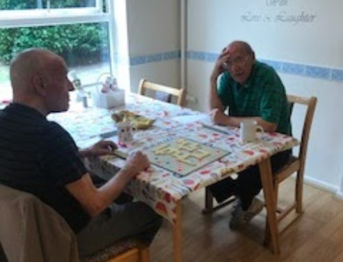 Pete and Les in deep thought – Scrabble afternoons